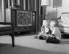 1960s Brother & Sister Sitting On Living Room Floor Watching Tv Poster Print By Vintage Collection - Item # VARPPI178801