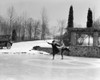 1920s Couple Man Woman Ice Skating On Outdoor Rink With Car Nearby Skating Side By Side Print By Vintage Collection - Item # PPI172477LARGE