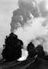 1930s-1940s Head-On View Of Three Steam Engines Silhouetted Against Billowing Smoke And Steam Outdoor Print By Vintage - Item # VARPPI172438