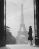 1920s Silhouetted Woman Standing In Profile In The Trocadero Across The Seine From The Eiffel Tower Paris France Print - Item # PPI178897LARGE