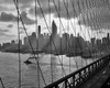 1940s-1950s Downtown Skyline Manhattan Seen Through Cables Of Brooklyn Bridge Tug Boat In East River Nyc Ny Usa Print By - Item # PPI178974LARGE