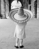 1950s-1960s Small Girl Tourist Seen From Behind Wearing Oversized Too Big Straw Hat Print By Vintage Collection - Item # VARPPI178942
