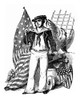 1800s-19Th Century Engraving Of Old Time Sailor Holding Sextant Next To Eagle & American Flag Typical War Of 1812 - Item # PPI177588LARGE