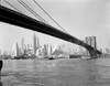 1940s-1950s Skyline Of Lower Manhattan With Brooklyn Bridge From Brooklyn Across The East River Print By Vintage - Item # PPI178621LARGE