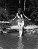 1920s Long-Haired Woman In Old Fashion Bathing Suit Standing In Pond With Feet In Water About To Dive Outdoor Print By - Item # VARPPI172410
