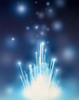 Stars with trails rising from bright white burst of light toward deep blue Poster Print by Panoramic Images (29 x 36) - Item # PPI117861