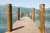 Wooden dock and posts on Lake Orta; Orta, Piedmont, Italy PosterPrint - Item # VARDPI12281346