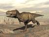 Tyrannosaurus Rex dinosaur running across rocky terrain Poster Print (8 x 10) - Item # MINPSTEDV600050P