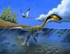 A Megapnosaurus dinosaur goes for a swim in a prehistoric lake Poster Print - Item # VARPSTHKY100010P