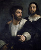 Portrait of artist with Friend by Raphael  Circa 1515-1518   France  Paris  Musee du Louvre Poster Print - Item # VARSAL11582291