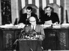 Dwight D. Eisenhower /N(1890-1969). 34Th President Of The United States. Eisenhower Addressing A Joint Session Of Congress With His Vice President Richard Nixon Behind Him On The Left, 1953. Poster Print by Granger Collection - Item # VARGRC0017025