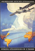 Plane & Dirigible over map of Atlantic from Europe to Brazil route marked. First all metal commercial airliner Poster Print by Anxter - Item # VARBLL0587351632