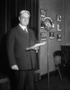 Senator Hiram Johnson At Columbia Radio Microphone. 1930. He Was A Progressive Prebublican And Supported The New Deal. As An Isolationist History - Item # VAREVCHISL035EC476