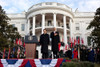 Welcoming Ceremony For Chinese President Hu Jintao On The South Lawn Of The White House. President Obama Salutes During The Us National Anthem. Jan. 19 2011. History - Item # VAREVCHISL026EC212