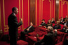 President Barack Obama Speaks Before A Screening Of The Hbo Ten-Part World War Ii Miniseries 'The Pacific' In The White House Family Theater. Tom Hanks And Steven Spielberg Sit In The Front Row. March 11 2010. History - Item # VAREVCHISL026EC006