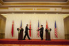 President Obama And Chinese President Hu Jintao Reach Out To Shake Hands After A Press Conference At The Great Hall Of The People In Beijing China Nov. 17 2009. History - Item # VAREVCHISL026EC220