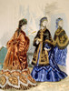 Hand-Colored Engraving Depicting Two Very Fashonable Dresses History - Item # VAREVCH4DFASHEC020