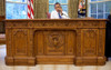 President Barack Obama Sits Behind The Resolute Desk In The Oval Office During A Conference Call On Aug. 19 2009. History - Item # VAREVCHISL025EC163