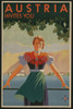Austria Invites You 1934 Travel Poster Shows Young Woman In Front Of Stylized Village And Mountains. History - Item # VAREVCHISL040EC523