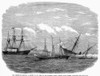 Alabama Vs Kearsarge, 1864. /Nthe Sinking Of The C.S.S Alabama By The U.S.S. Kearsarge And The Rescue Of The Crew Of The Alabama By U.S.S Deerhound Off Cherbourg, France, 19 June 1864. Wood Engraving, American, 1864. Poster Print by Granger Collectio