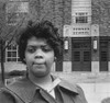 Linda Brown Thompson /N(1943- ). African American Student Who Was Barred From Attending Sumner School In Topeka In 1951, And Led To The Supreme Court Case, Brown Vs. The Board Of Education. Brown Photographed In Front Of The School In 1964. Poster Pr