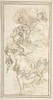 Archangel Holding a Lily in a Landscape with Clouds Bearing Putti (Fragment of a Scene of the Annunciation) Poster Print by Anonymous  Italian  first half of the 18th century Date: 18th century Medium: Pen and brown ink. Traces of framing outlines in