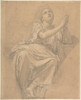 """Allegorical Figure of the City of Piacenza  for a Pendentive in the Chapel of St. Roch  Saint-Sulpice  Paris (recto); Studies for the Same Figure  squared in graphite (verso) Poster Print by Alexandre Denis Abel de Pujol (French  Valenciennes 1785  """""""