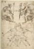 Sheet with multiple Designs: Figurative Scene with Two Women (top) and Two Satyrs Playing Horns  Seated Back to Back (bottom) (recto); Three Candelabra Grotesques (verso) Poster Print by attributed to Andrés de Melgar (Spanish  documented S. Domingo