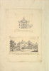 Leaf from Aedes Walpolinae mounted with (a): Elevation of Back Facade of the Kings House  Richmond  Surrey and (b): Perspective View of the Entrance Front of the Kings House  Richmond  Surrey Poster Print by Augustus Heckel (German (active Britain)