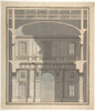 Design for a Stage Set: Design in Section of a Two-Storied Entrance Hall (Recto). Elevation Design for a Monumental Entrance with Columns and Rounded Pediment (Verso). Poster Print by Giovanni Battista Galliani (Italian  active ca. 1794) (18 x 24) -