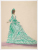 Fashion Study: Woman in a Green Dress Poster Print by Anonymous  French  19th century Date: 19th century Medium: Pen and brown ink  brush and gray wash  watercolor  heightened with white Dimensions: sheet: 9 15/16 x 7 3/8 in. (18 x 24) - Item # MET38