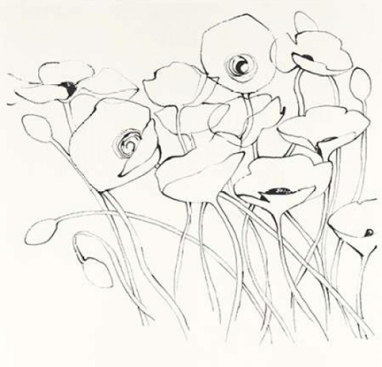Black Line Poppies I Poster Print by Shirley Novak   Item ...