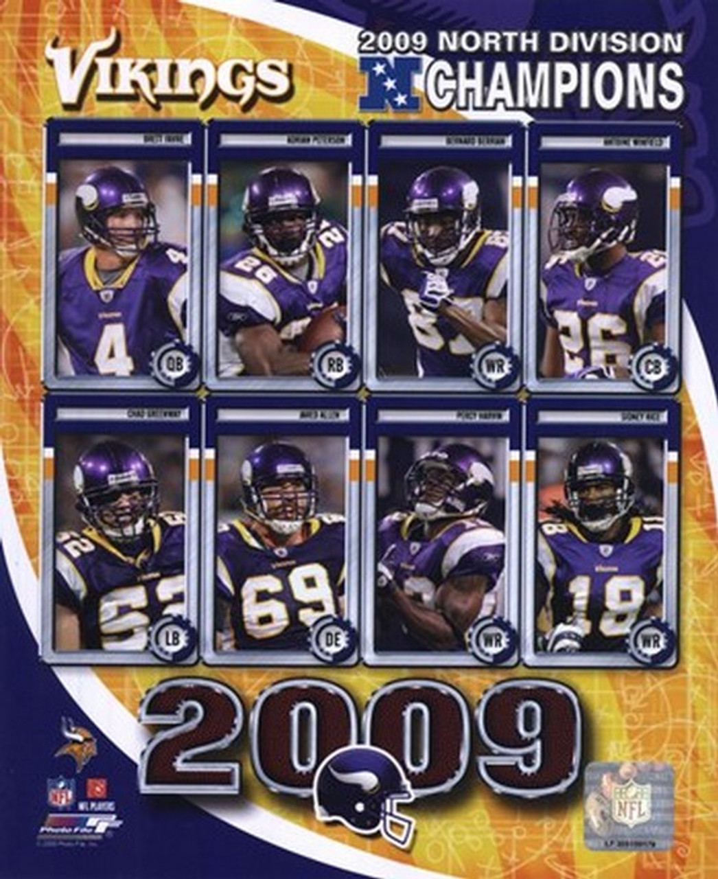 2009 Minnesota Vikings Nfc West Divison Champions Composite Sports Photo Item Varpfsaalz020