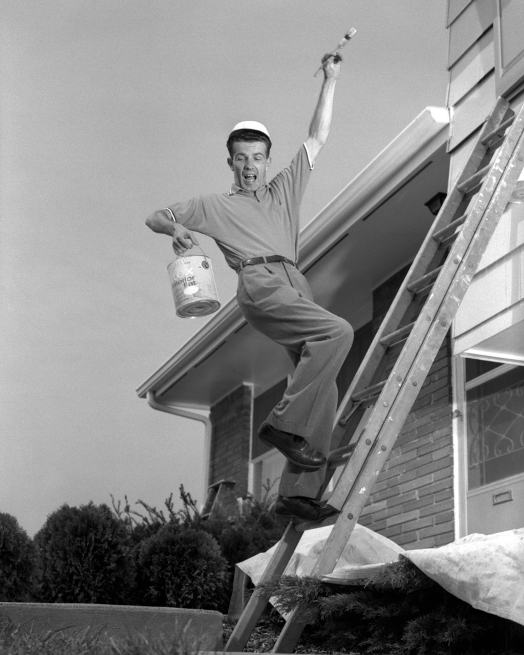 1960s Man Falling Off Of Ladder While Painting House Poster Print By  Vintage Collection - Item # VARPPI176551