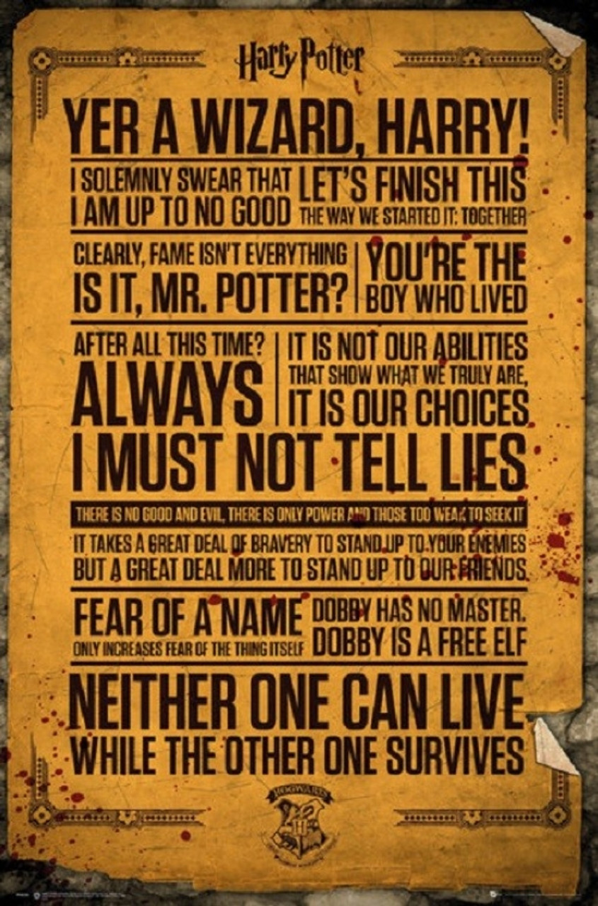 graphic regarding Printable Harry Potter Quotes identified as Harry Potter Quotations Poster Poster Print by way of - Merchandise # VARXPE160538