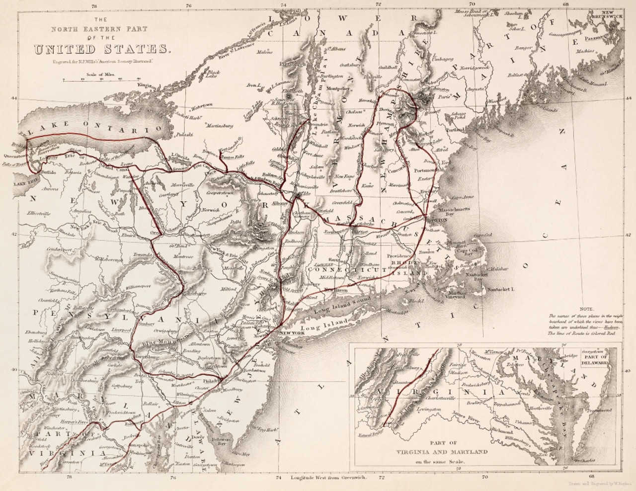 Map: Northeast U.S.A. /Nmap Of The Northeastern Part Of The United States.  Line Engraving, English, 19Th Century. Poster Print by Granger Collection -  ...