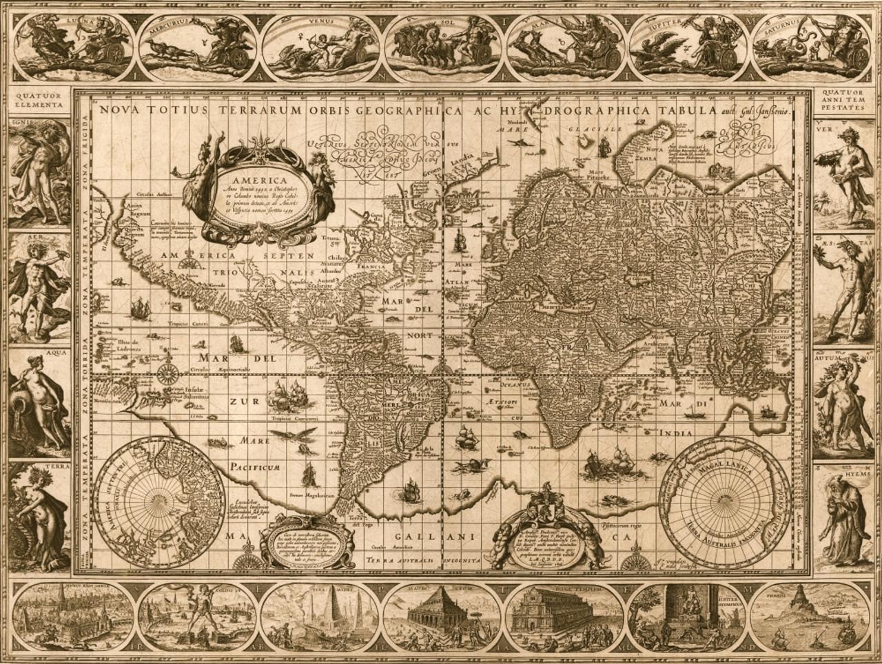 Nova Totius Terrarium Orbis Tabula antique World Map 1689 art print poster