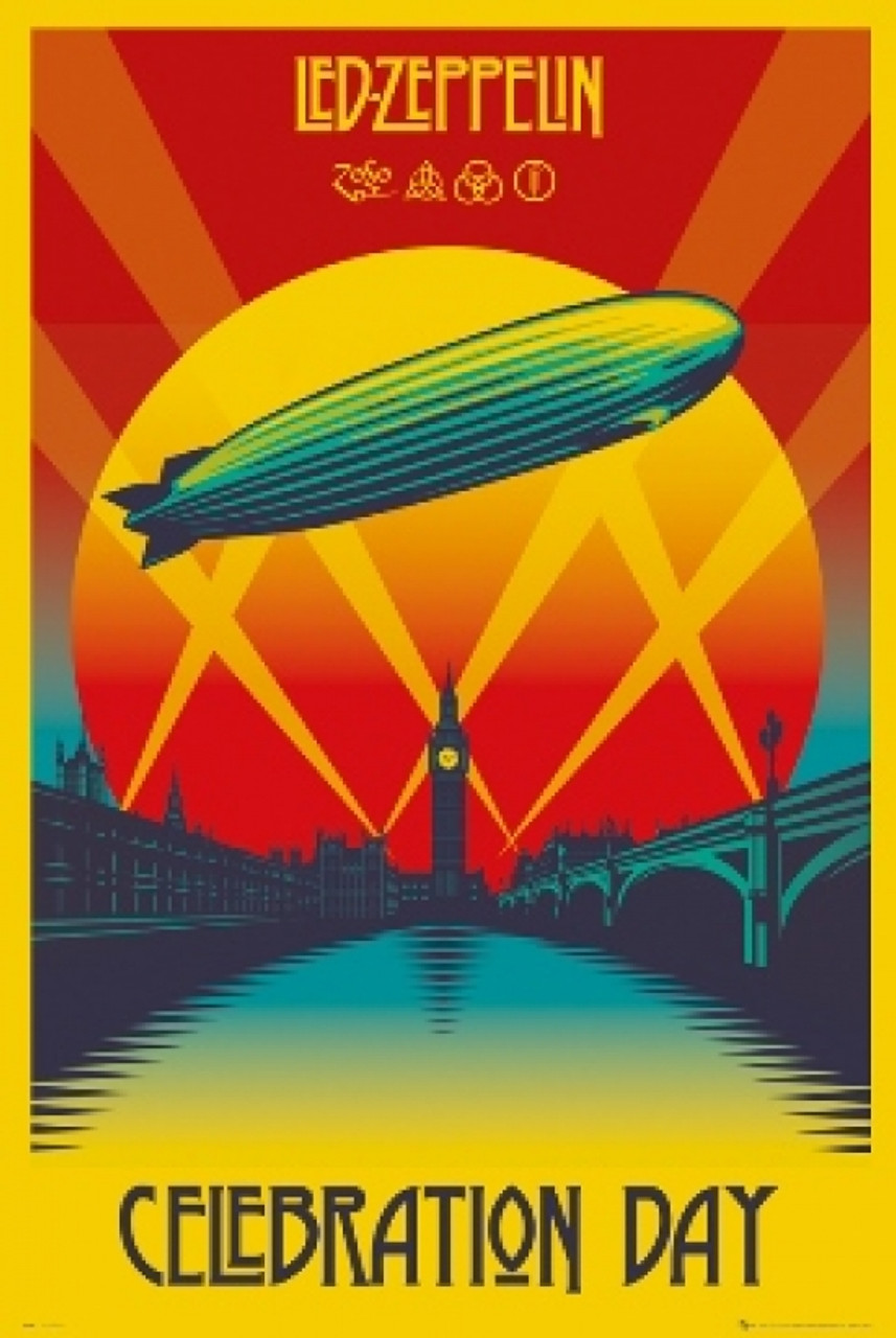 Led Zeppelin Rock Band Live On Stage Poster 24 X 36