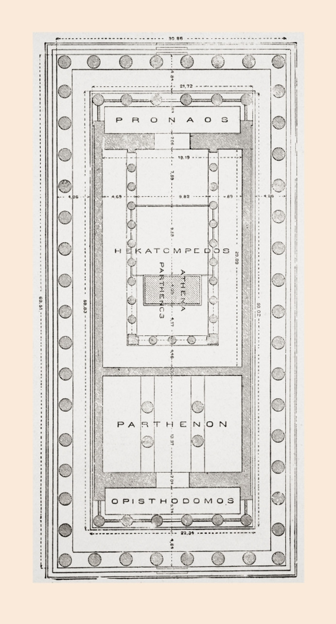 Floor Plan Of The Parthenon Athenian Acropolis Greece After