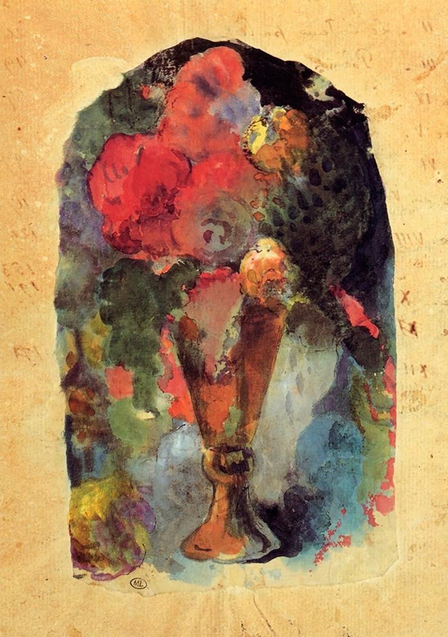 Delacroix Watercolor Reproduction Fine Art Print Flowers