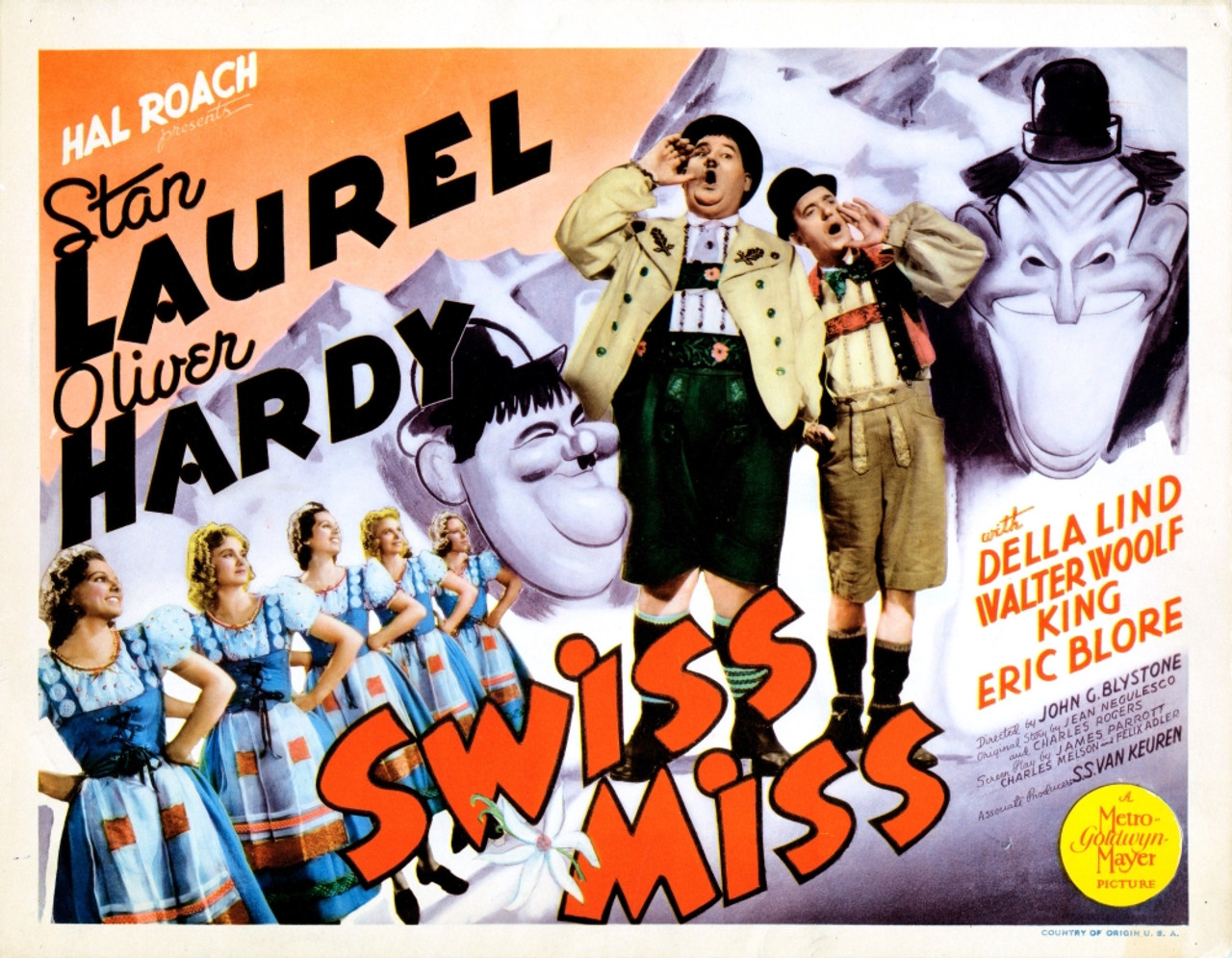 Swiss Miss From Left: Oliver Hardy Stan Laurel On Title Lobbycard 1938. Movie  Poster Masterprint - Item # VAREVCMMDSWMIEC001H - Posterazzi