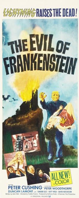 Evil Of Frankenstein Top: Kiwi Kingston Bottom L-R: Caron Gardner Peter Woodthorpe Peter Cushing Katy Wild On Insert Poster 1964. Movie Poster Masterprint - Item # VAREVCMCDEVOFEC006H