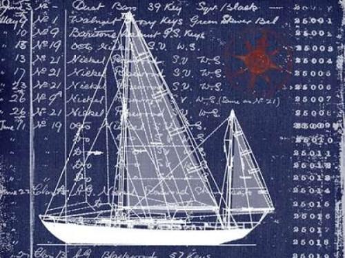 Schooner Blueprint Denim 2 Poster Print by Walter Robertson - Item # VARPDX406ROB1114B