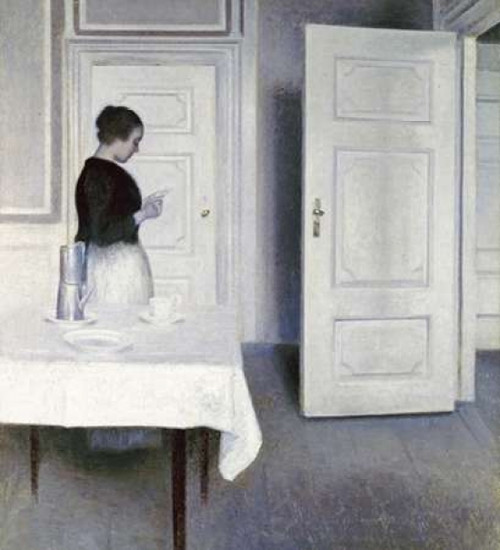 Interior With a Woman Reading a Letter Poster Print by  Vilhelm Hammershoi - Item # VARPDX268046