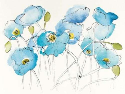 Black Line Poppies III Watercolor Poster Print by Shirley Novak - Item # VARPDX23760