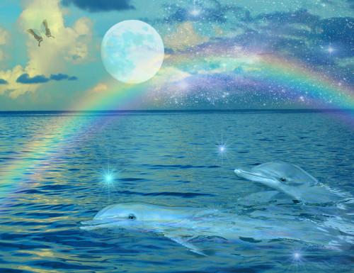 Blue Mystic Dolphin Poster Print by Alixandra Mullins - Item # VARMGL600972