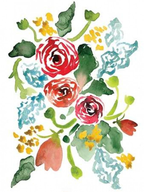 Red Floral Array I Poster Print by Sara Berrenson - Item # VARPDXBER148
