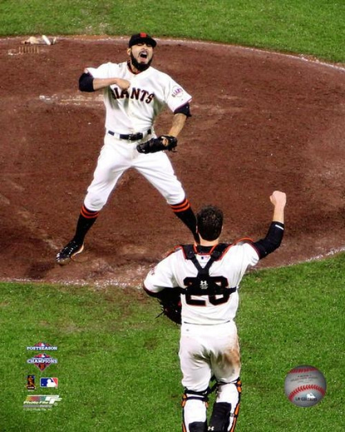 Buster Posey & Sergio Romo Celebrate Winning Game 7 of the National League Championship Series Photo Print - Item # VARPFSAAPH197