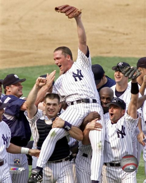 David Cone is carried on the shoulders of his teammates after pitching a perfect game against the Montreal Expos at Yankee Stadium. July 18, 1999 Photo Print - Item # VARPFSAABA011