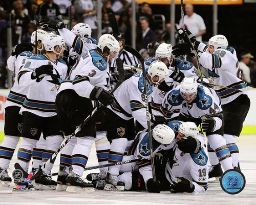 The San Jose Sharks Celebrate Winning Game 6 of the 2011 Western Conference Quarterfinals Photo Print - Item # VARPFSAAOA143